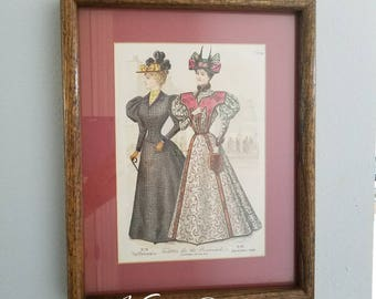 "Antique The Delineator Magazine 1896  ""Toilettes For The Promenade"" Fashion Print Frame,  Vintage Fashion Frame"
