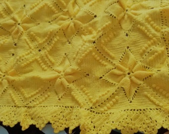 Crochet Baby Blanket - baby gift, boys blanket, girls blanket, crochet blanket,sweet yellow, baby shower, handmade
