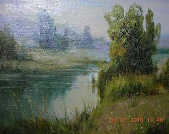 "Original Ukrainian oil painting ""Rivulet"", canvas, in frame"
