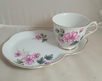 Old Foley James Kent Tennis Set Snack Set Pink Floral
