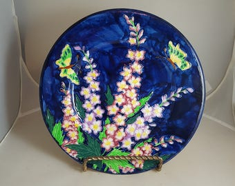 Maling Butterflies & Delphinium Cabinet Plate Majolica