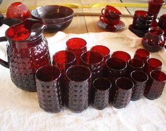 Vintage Anchor Hocking Royal Ruby Red Glass  - Large Pitcher and set of 15 glasses