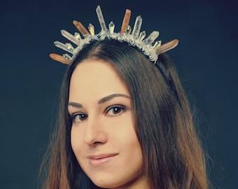 Crystal Crown Festival Crown Quartz Crown Ice Queen Crown Goddess Headdress Crystal Tiara Goddess Headpiece Designer Crown Quartz Headpiece