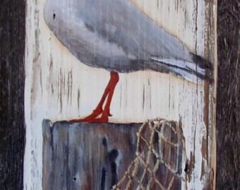 Beach Seagull Barnwood Sign
