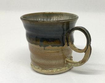 Glazed Blue Stoneware mug with ring shaped handles, tea mug