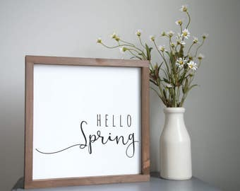 "Hello Spring | Spring sign, rustic art, spring decor, Spring wood sign | 13"" x 13"""