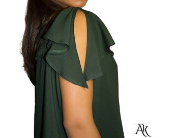Blouse - Ruffle Green Blouse  - Summer Blouse - Dark Green Blouse - Ruffle Blouse by Anna Karinna