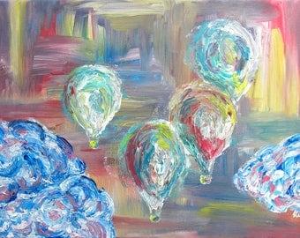 Abstract Hot Air Balloons - Original acrylic painting - Wall art - Abstract art - Gift idea - Colorful painting - Textured painting