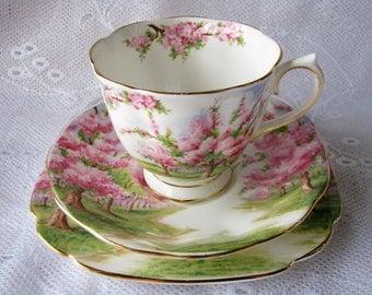 Royal Albert cup saucer Royal Albert trio Royal Albert gift for mother Wedding gift for collector Pink blossom cup Pink bone china tea set