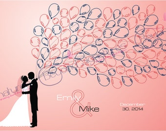 Balloon Silhouette Couple Wedding Guest Book Alternative Poster, Digital, Custom