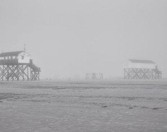 "FineArt print ""Foggy Beach / stilt houses St. Peter-ording, Northern Sea"""