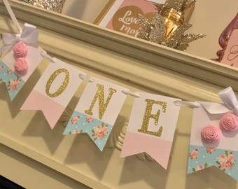 Shabby Chic Banner . Shabby Chic  Decor . Shabby chic Birthday Banner, First Birthday Girl High Chair Banner