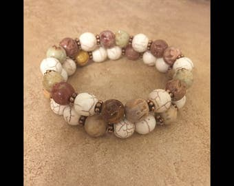 Carved Soapstone  Stackable Bracelet Set.