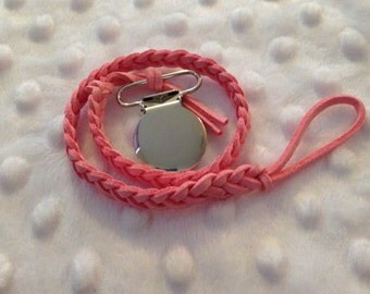 PINK Braided Suede Dummy Clip with Round Metal Clip