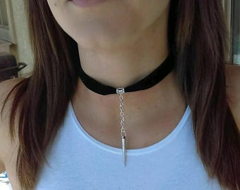Choker Necklace, Wrap Necklace, Minimalist Necklace, Boho Choker, Bohemian Jewelry, Spiked Choker, Spike Suede Choker, Black Choker, Velvet