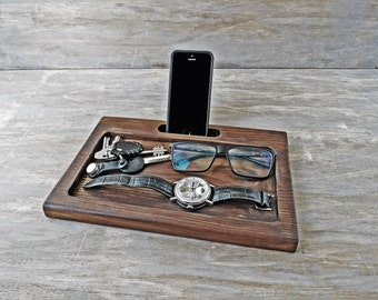 Docking Station Personalized Men Gift for for Him iphone dockstation Custom Gift for Dad Fathers Day Gift wooden desk organizer for husband