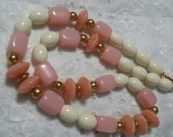 Trifari peach pink ivory and gold beaded vintage necklace