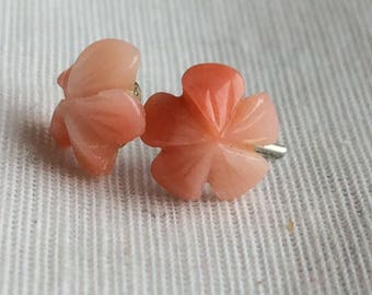 Small Pinkish/Coralcolor Stone? Carved? Flower Post Earrings