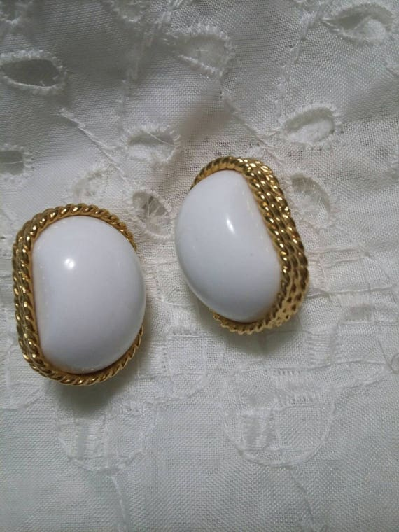 items similar to trifari white and gold clip on earrings