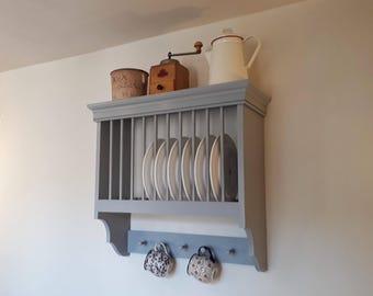 Kitchen Plate Rack | Handmade modern rustic kitchen shelving and storage by Beaufort & Dunham