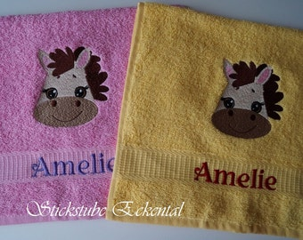 Towel with name embroidered pony
