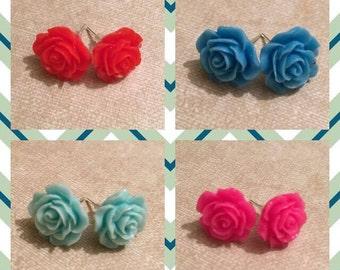 Rose Stud Earrings - Handmade
