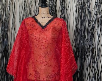 Black & red shrug or overlay
