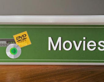 Movie Bin Decal/Label to organize playroom and classroom. Fit for Ikea Trofast Unit, SMALL Bin