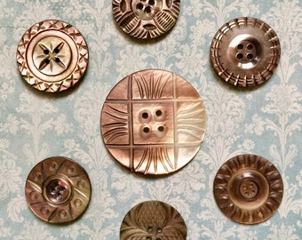 REDUCED!  Beautiful Hand Carved Antique Creamy Brown Mother of Pearl Buttons Lot of 7