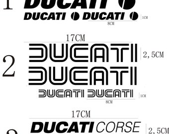 Kit 4 STICKERS DUCATI CORSE ducats old monster tank helmet Sticker stickers autocollants lijmen adesivos adhesivos Klebstoffe