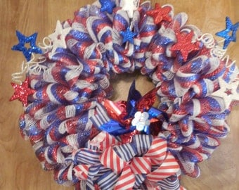 Red, White, and Blue, stars and stripes premium deco mesh wreath.
