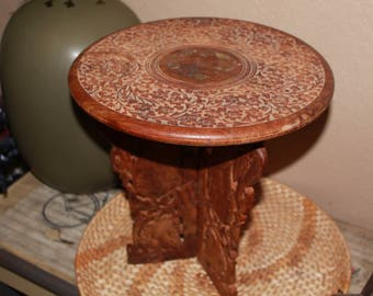 Hand Carved Wood Round Table, Brass Leaf Vine Inlay, Folding Carved Wood Leaf/ Bird Tripod Legs, Made In India, Empire Made, Collectible