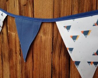 Mountain Print Grey Fabric Bunting - 2.5m