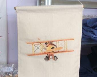 Wooden Aeroplane Wall Banner
