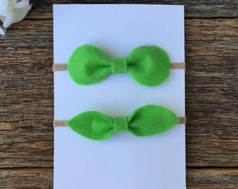 Lime green felt headband, girl felt headband, baby felt headband, nylon headband, felt bow headband- Choose 1 Style