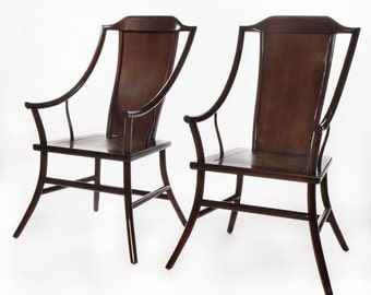 Antique Chinese Rosewood Arm Chairs - Pair