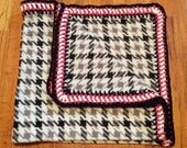 Black & White Baby Blanket with Square Edging, fleece baby blanket, crochet baby blanket, crochet edge blanket, fleece blanket, baby blanket