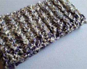 White & Purple, Chunky Knit Headband, Knit Ear Warmers