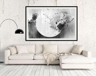 Abstract Eclipse Giclée Large Print Abstract Art Black White Abstract Wall Art Large Gift for Friend Modern Home Large Wall Art Abstract