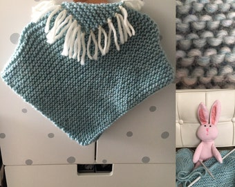 Sale!  Turquoise baby natural woolen poncho handmade 12/18 months
