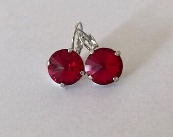 10mm Ruby Red Swarovski Crystal Earrings