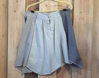 Convertible Skirt, Four Style Skirt, Upcycled Clothing, Refashioned Skirt, Four Skirts In One, Blue Funky Skirt, Artsy Skirt, Festival Skirt