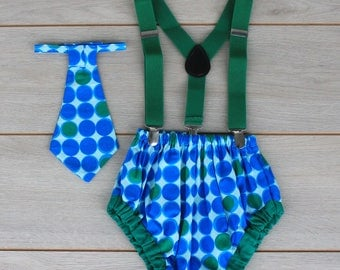 Blue & Green Spotty Cake Smash Outfit