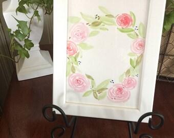 Hand Painted Personalized Wreath, Watercolor Painting, Custom, Original, Nursery, Baby Room, Living room, Wedding Shower, Housewarming gift,