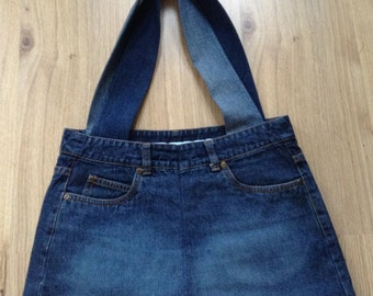 Handmade Recycled Denim Ladies Shoulder Bag / Handbag - fully lined with fully functional pockets