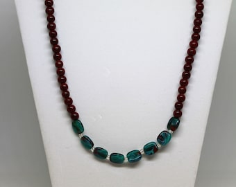 Handmade Maroon and Teal Beaded Necklace - Perfect Gift for her for any occasion.  Great Piece of Jewelry for Work