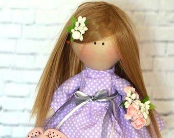 Fabric russian doll Cloth doll Little doll Softie doll Textile doll Rag doll Blonde hair doll Birthday girl doll