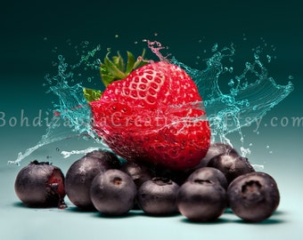 Strawberry Fruit Wall Art Photography on Canvas, Metal, or Photo Paper Print; Strawberry Splash