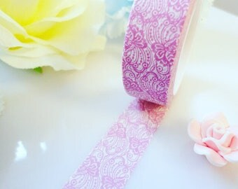 Purple White Flower Washi Tape Elegant Delicate Masking Deco Tape