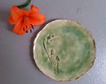 Ceramic plate snowdrops